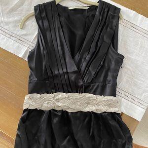 Cute black silk top with belt